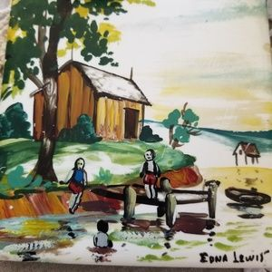 Hand painted  Signed Tile by Edna Lewis Lake Scene